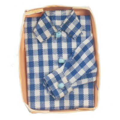 A blue and white gingham doll clothing men's shirt.