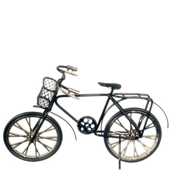A black dollhouse miniature bicycle.