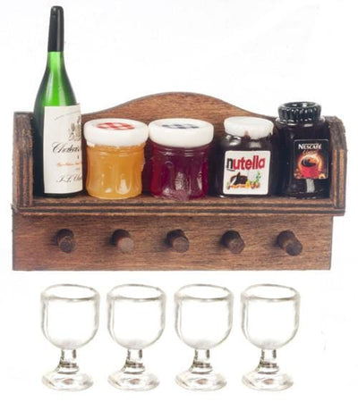 A dollhouse miniature wall shelf with food on it that comes with four glasses.