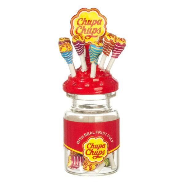 Dollhouse miniature lollipops in a jar.