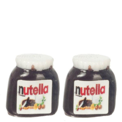 Two jars of dollhouse miniature chocolate spread.