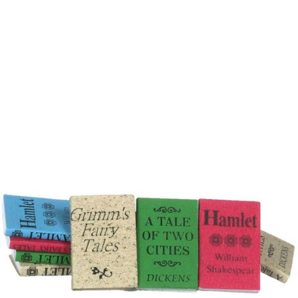 A dozen dollhouse miniature books.