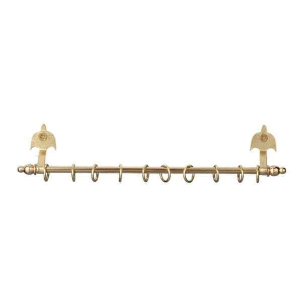 A expanding gold dollhouse miniature curtain rod.