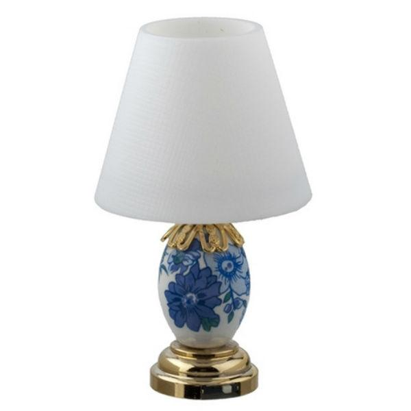 A dollhouse miniature blue and white table lamp with LED lighting.