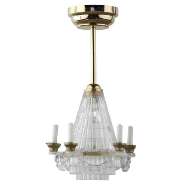 A faux crystal dollhouse miniature chandelier with LED lighting.