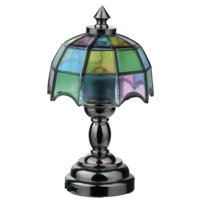 A dollhouse miniature Tiffany table lamp with LED lighting.