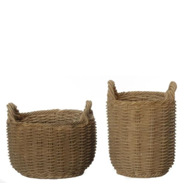 Two dollhouse miniature round brown woven baskets.