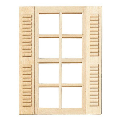 A dollhouse miniature eight-light window with shutters.