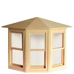 A dollhouse miniature working bay window.