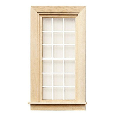 A dollhouse miniature window with white mullions.