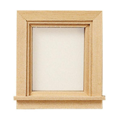 A single traditional dollhouse miniature window.