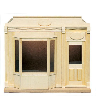 A dollhouse bay window shop kit.