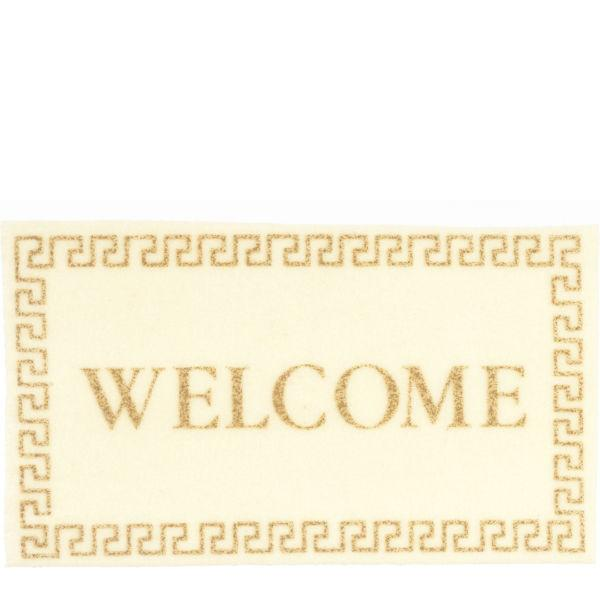 A dollhouse miniature welcome mat.