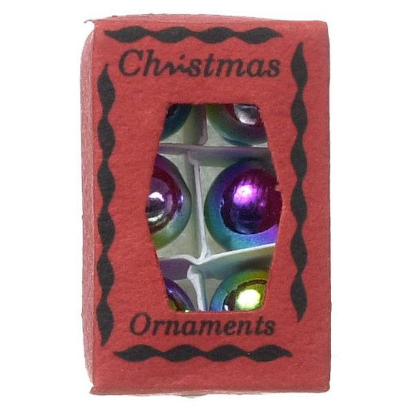 dollhouse miniature christmas ornaments in a box