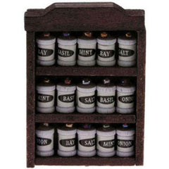 Dollhouse miniature spice rack with 15 removable spices.
