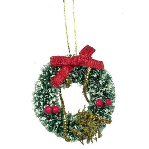 Dollhouse Miniature Christmas Wreath with Snow - Little Shop of Miniatures