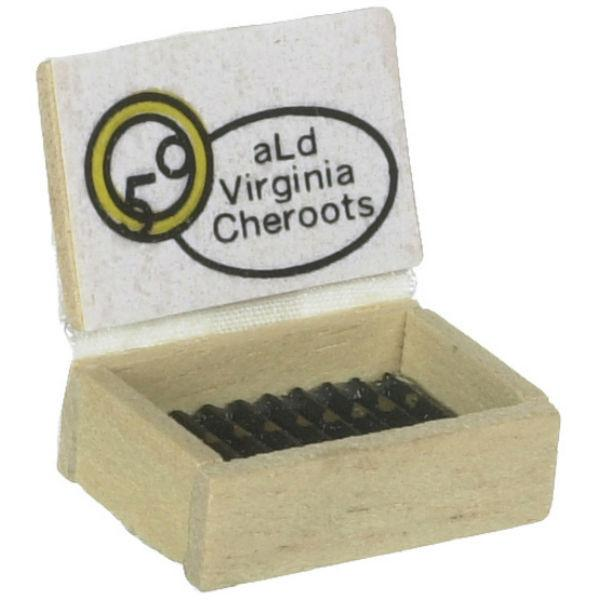 A dollhouse miniature box of cigars.