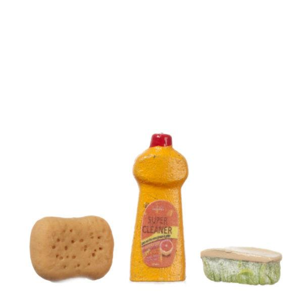 Dollhouse soap, sponge, and cleaning brush.
