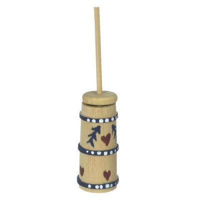 A dollhouse miniature wooden butter churn.