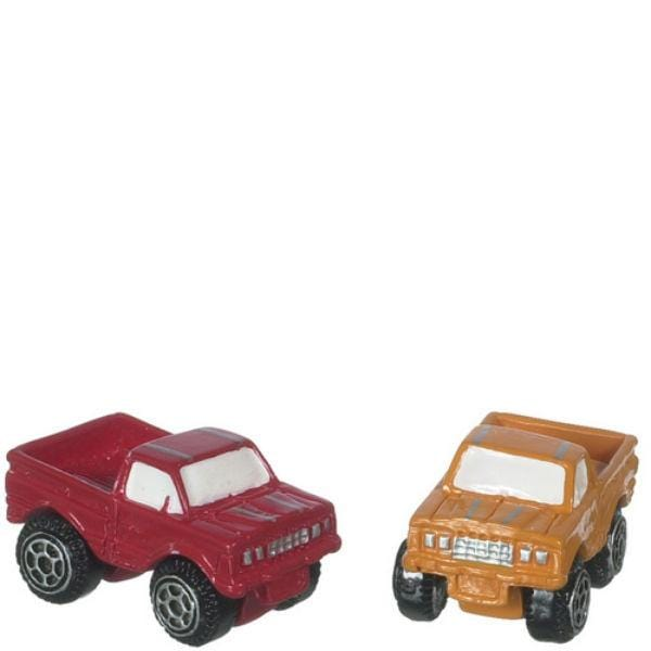 Dollhouse miniature toy trucks.