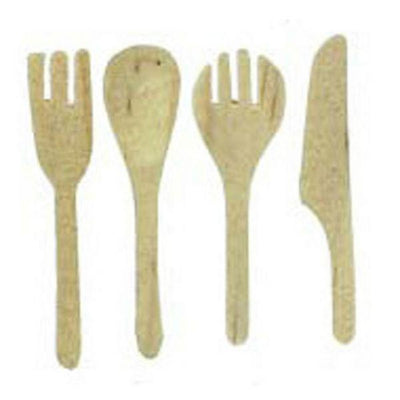 A four-piece wood dollhouse miniature kitchen utensil set.
