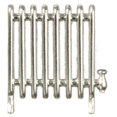 A silver dollhouse miniature radiator.
