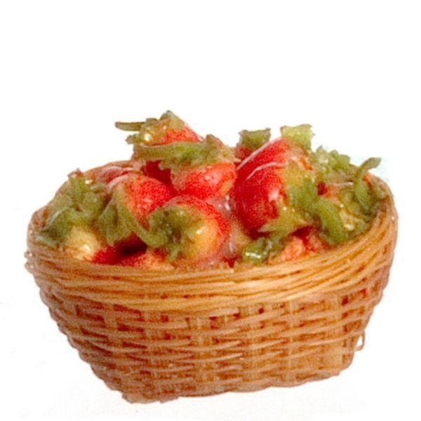 A dollhouse miniature basket of strawberries.