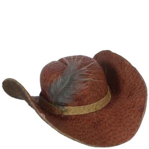 A doll brown cowboy hat.