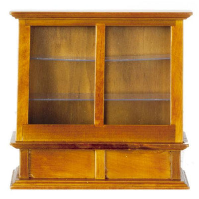 A walnut dollhouse furniture display case.