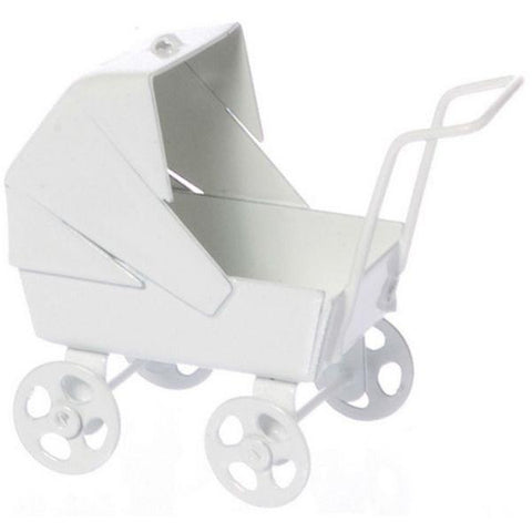 White Metal Dollhouse Miniature Baby Carriage - Little Shop of Miniatures