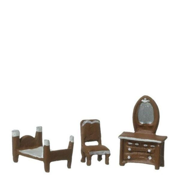 a 1/44 scale dollhouse furniture bedroom set with bed, chair, and dresser.