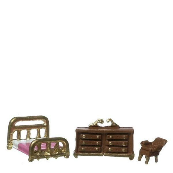A 1/144 scale dollhouse furniture bedroom set with bed, dresser, and chair.