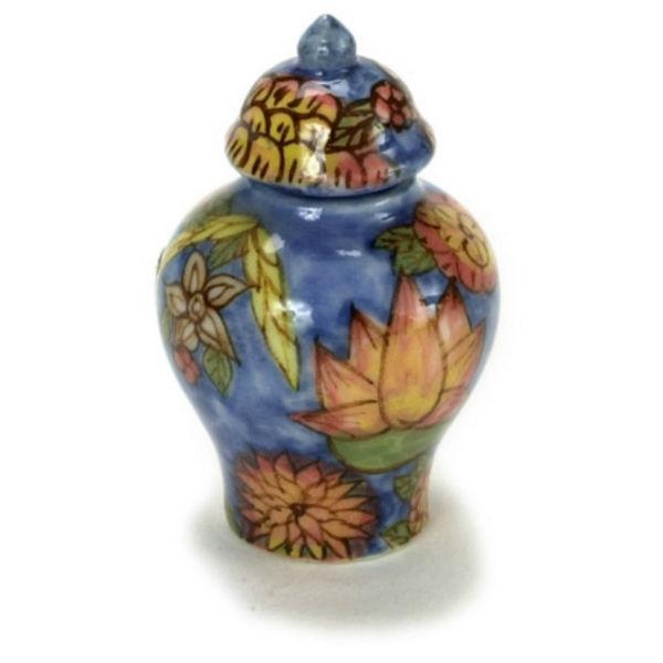 A dollhouse miniature blue floral ginger jar.