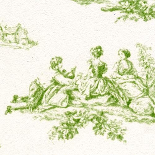 green toile dollhouse wallpaper