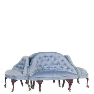 A dollhouse furniture blue French style conversation set.