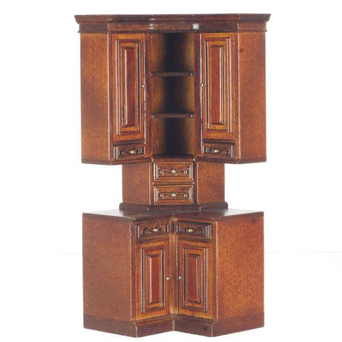 A dollhouse furniture mahogany kitchen cabinet with built-in wine rack.