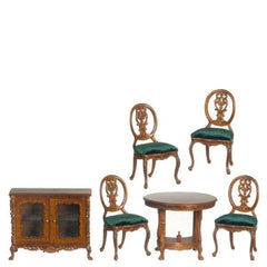 A walnut dollhouse furniture dining set.