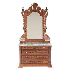 A walnut dollhouse furniture vanity with faux marble top.