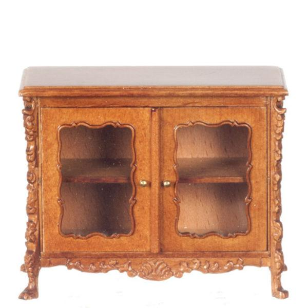 A walnut dollhouse furniture buffet table.