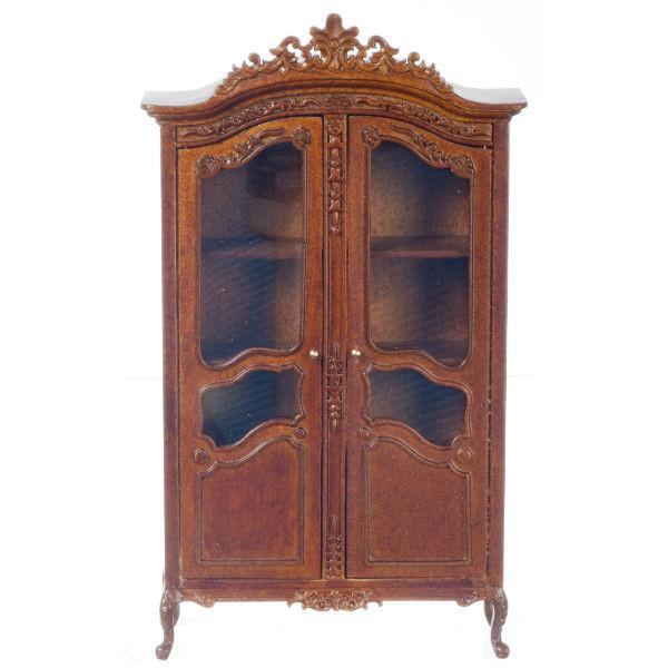 A dollhouse furniture walnut hutch.