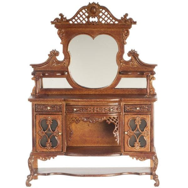A dollhouse furniture walnut sideboard.