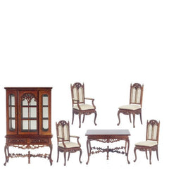 A walnut dollhouse furniture dining root set.