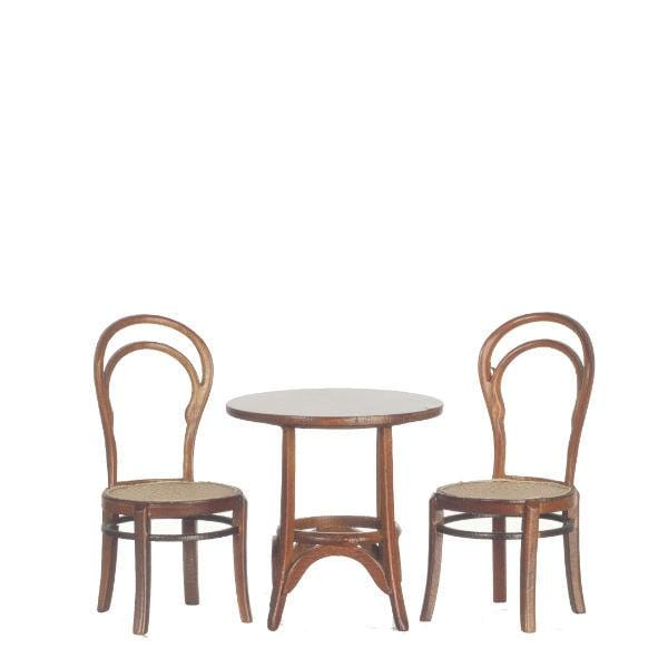 Two miniature Thonet Bentwood chairs and a matching table.