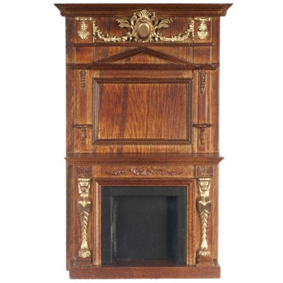 A walnut dollhouse furniture grand fireplace.