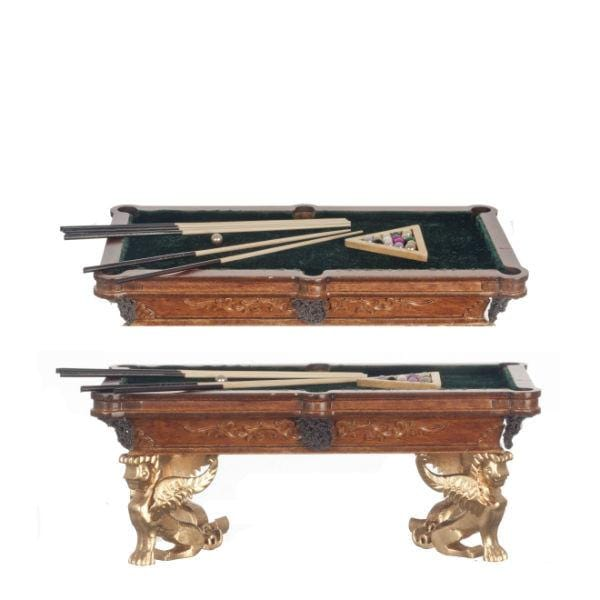 A walnut dollhouse miniature pool table with cue sticks and complete pool ball set.  sc 1 st  Little Shop of Miniatures & Figurehead Walnut Dollhouse Miniature Pool Table \u2013 Little Shop of ...