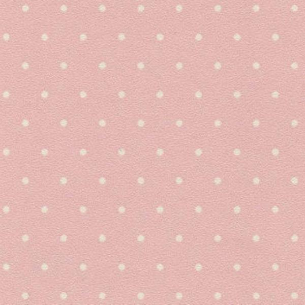 Pink dollhouse miniature wallpaper with white polka dots.
