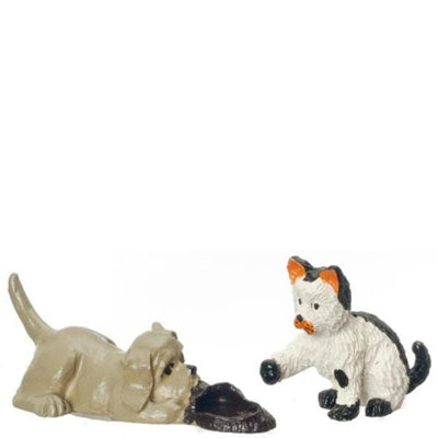 Dollhouse Miniature Cat & Dog Set - Little Shop of Miniatures