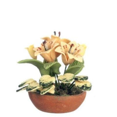 Dollhouse miniature tiger lilies in a pot.