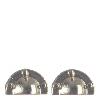Chrome dollhouse miniature half-round drawer pulls.