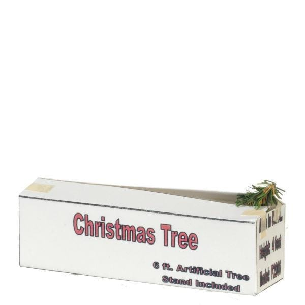 A dollhouse miniature Christmas tree box.